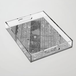 Vintage map of Manhattan Central park in gray Acrylic Tray