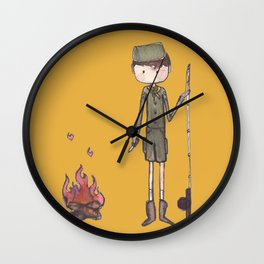 Boy Scout -Hes got a knife Wall Clock