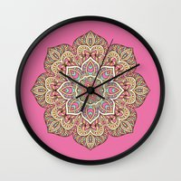 islam Wall Clocks featuring Pink Mandala by Mantra Mandala