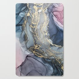 Blush, Payne's Gray and Gold Metallic Abstract Cutting Board