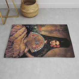 Woman of Mexico with fan portrait painting by Jesus Helguera Rug