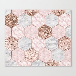Rose gold dreaming - marble hexagons Canvas Print