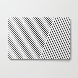 Black and White Lines Hatching Pattern II Metal Print