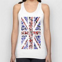 union jack Tank Tops featuring Union Jack by David T Eagles