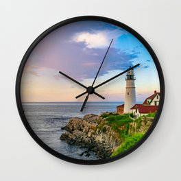 Rainbow Over Portland Lighthouse Wall Clock