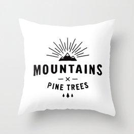 Mountains & Pine trees Throw Pillow