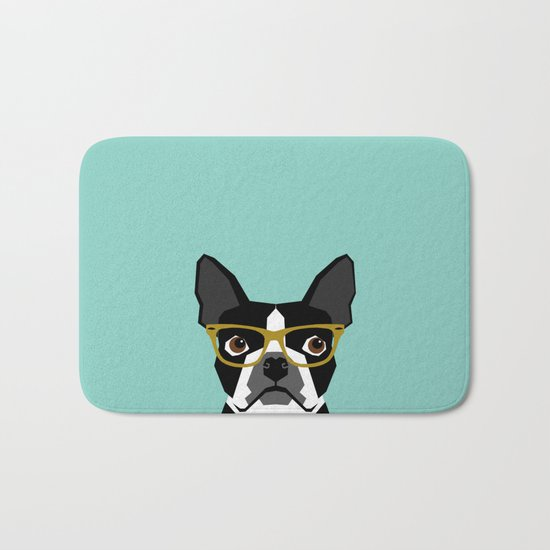 Darby - Boston Terrier pet design with hipster glasses in bold and modern colors for pet lovers Bath Mat
