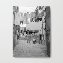 Kid and Grandma in street black white  Venice italy Metal Print