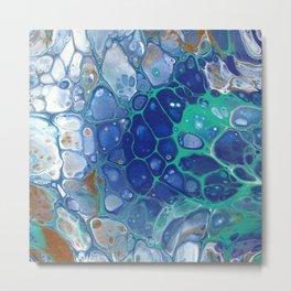 Aqua Bubbles (Original Abstract Acrylic Painting) Metal Print