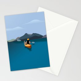 Boat, Sea and the Mountains Stationery Cards