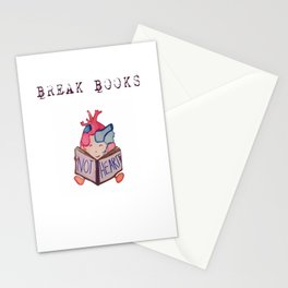 Break Books, Not Hearts Stationery Cards