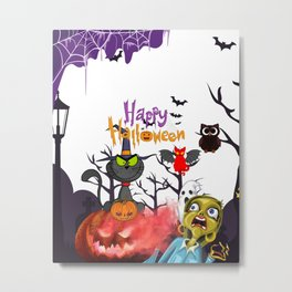 Scary Witch Cat Metal Print