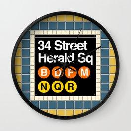 subway herald square sign Wall Clock