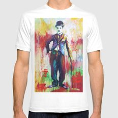 Charlie Chaplin SMALL Mens Fitted Tee White
