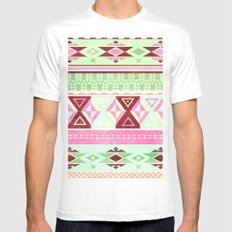 Neon Aztec White SMALL Mens Fitted Tee