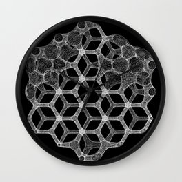 GEOMETRIC NATURE: COGNITIVE HEXAGON b/w Wall Clock