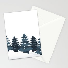 Steel Blue Grey White Winter Evergreen Tree Watercolor Landscape Stationery Cards