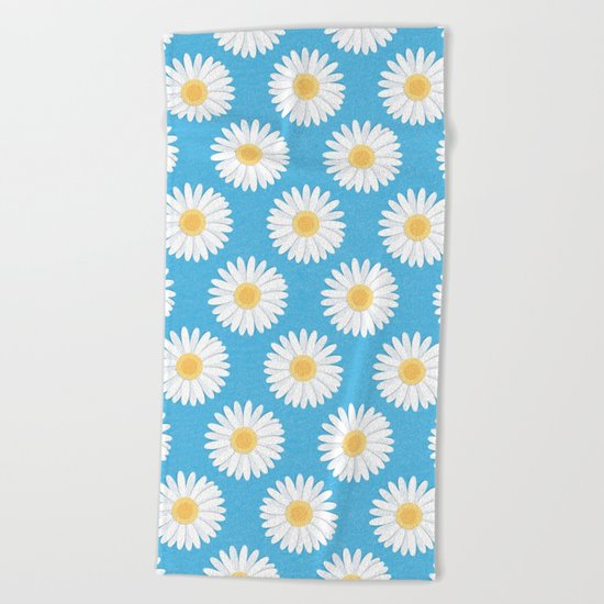 Spring Daisies_Blue Sky Beach Towel