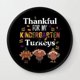 Cute Kindergarten Turkey Kids Thanksgiving Teacher Wall Clock