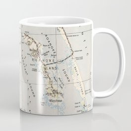 Vintage Map of Roanoke Island & Outer Banks NC Coffee Mug