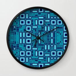Blue digital geometric abstraction Wall Clock