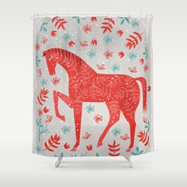 The Red Horse Shower Curtain
