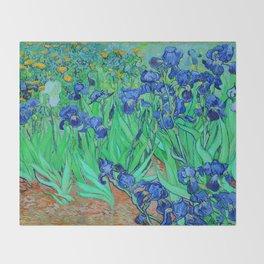 Van Gogh Blue Irises at St. Remy Throw Blanket
