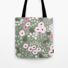 Pink Poppies - kaki floral pattern Tote Bag