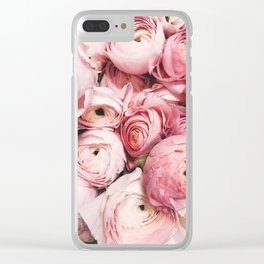 Flowers, Pastel, Plant, Pink, Minimal, Flowers decor, Interior, Wall art Art Clear iPhone Case