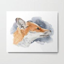 Fox in Indigo Cloud Metal Print