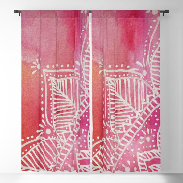 Mandala flower on watercolor background - pink Blackout Curtain