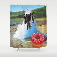 hunting Shower Curtains featuring Donuts Hunting by Raw Flakes Collages