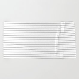 Horizontal Lines (Silver/White) Beach Towel