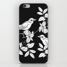 Birds on Branches, Drawing (White on Black) iPhone Skin