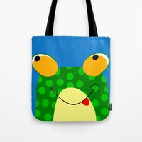 frog Tote Bags featuring Frog by Jessica Slater Design & Illustration