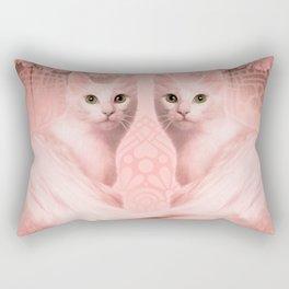 """""""Pink Pastel Doppelganger Cats at the Garden"""" Rectangular Pillow"""