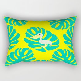Pelican and monstera leaves Rectangular Pillow