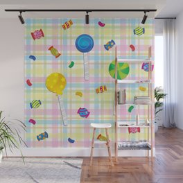 Candy Plaid Wall Mural