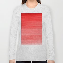 Bold Fire Engine Red - Light Pink Watercolor Horizontal Brush Gradient Stripe Pattern Long Sleeve T-shirt