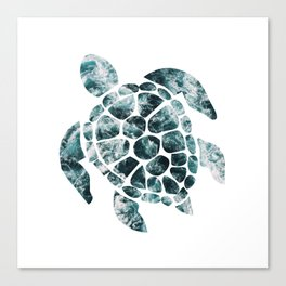 Sea Turtle - Turquoise Ocean Waves Canvas Print