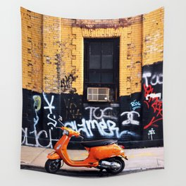 Orange Scooter Wall Tapestry