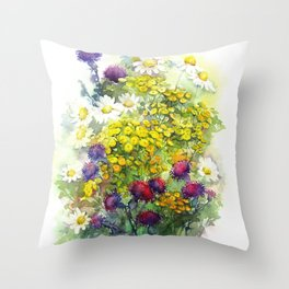 Watercolor meadow flowers Throw Pillow