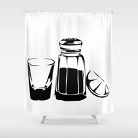 tequila Shower Curtains featuring TEQUILA SALT LIME by MICHAEL KOMAR