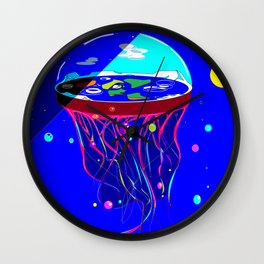Flat Earth Jellyfish Spaceship Wall Clock