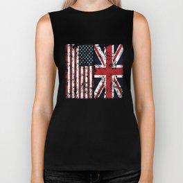 Union Jack British American Flags Biker Tank