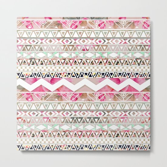 Aztec Spring Time!   Girly Pink White Floral Abstract Aztec Pattern Metal Print