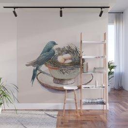 Bird nest in a teacup Wall Mural
