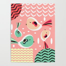 Funny birds in pink and blue Poster