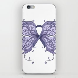 Periwinkle Cancer Ribbon with Butterfly Wings iPhone Skin