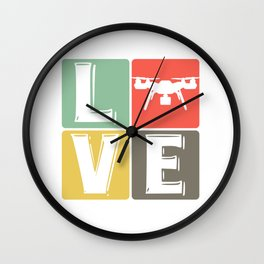 Drone love flying drone quadrocopter Wall Clock